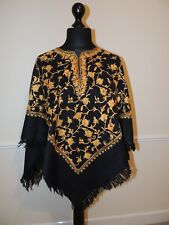 Kashmir Poncho Black with Gold all-over - New - India - Ethnic (item xp5)