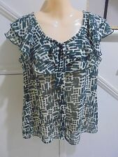 ROCKMANS NWOT SIZE 12 - 14 GREEN TAUPE FRILL FEATURE BLOUSE