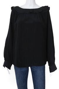 Just Cavalli Womens Boat Neck Ruffle Long Sleeve Blouse Black Silk Size IT 42