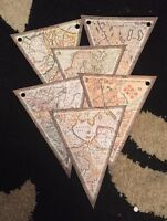 Vintage Map Wedding Party Paper Bunting  Party Decoration