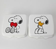 TUPPERWARE 2x Snoopy Brotdose, Lunchbox, Sandwichbox, WEISS