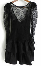 Vtg Allure Dress Black Lace Top Tiered Skirt Petti Coat  Long Sleeve Size S