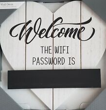 """Heart Hanging Wall Decor White Black Wood Welcome The Wifi Password Is 9.45"""" New"""