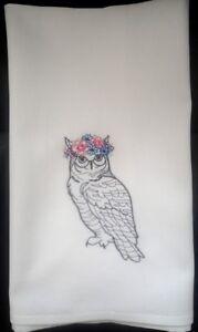 Owl embroidered on cotton tea towel/dishcloth