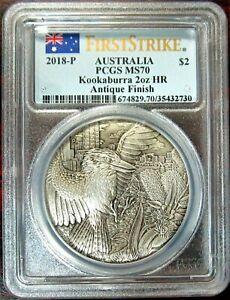 2018-P $2 Australia Kookaburra 2oz HR 9999 Silver Antiqued Coin PCGS MS70 FS⭐V7⭐
