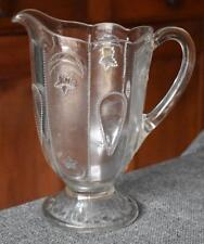 1890S INDIANA GLASS SHRINE JEWELED MOON & STAR EARLY PRESSED GLASS WATER PITCHER