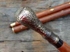 Antique Brass knob Head Handle Wooden Vintage Cane Designer Wooden Walking Stick