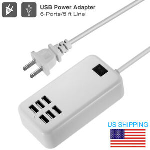 Multi 6 Port USB Desktop Travel Charger Fast Charging Station Wall Power Adapter