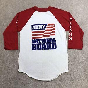 Vintage 80s Army National Guard Raglan T Shirt Men's M Single Stitch Thin 50/50