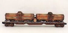 O LIONEL DOUBLE OIL TANKER JUNK SUNOCO FLAT CAR GIFT TOY  CUSTOM LOADCOLLECT