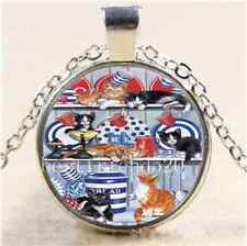 Kitty Cat Have Fun Cabochon Glass Tibet Silver Chain Pendant  Necklace