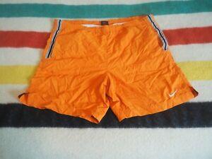 Vtg Nike Nylon Swim Shorts Mens M Orange y2k Lightweight Swoosh Logo EUC