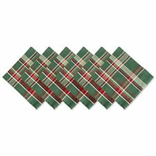 """DII Oversized 20x20"""" Cotton Napkins, Pack of 6, Dark Green Plaid - Perfect for D"""