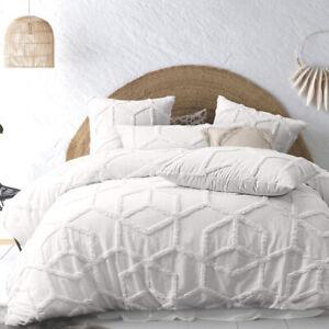 Tufted Geometric Cotton Ivory White Quilt Cover QUEEN Super KING Doona Duvet Set