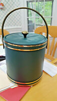 vintage Ice Bucket Green Leatherette and gold tone! FREE SHIP US