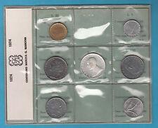SERIE DEL 1974 CON MONETA DA 500 LIRE IN ARGENTO MARCONI 7 VAL. con Z di ZECCA