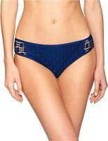 Kenneth Cole REACTION Women's Crochet Hipster Bikini Swimsuit, Indigo, Size -1.0