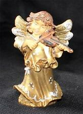 """Vintage 50s Signed Italy Molded Plastic Angel Playing Violin 4""""h Ornament"""