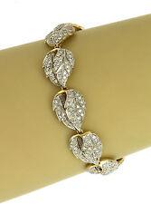 Estate 3.00 Carats Diamond 14k Yellow & White Gold Leaf Link Bracelet