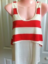 RS#3  RUE 21 SIZE SMALL OFF WHITE & REDDISH STRIPED TANK TOP NEW WITHOUT TAGS