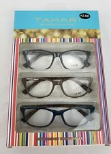 NIB Tahari Premium Reading Glass Collection 2.00 Readers 3 Pair Black Brown Blue