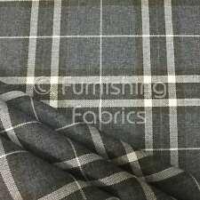Dark Grey Tartan Stripe Checked Pattern Texture Weave Chenille Upholstery Fabric