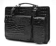 Gentlemens / Ladies real patent leather croc Briefcase Laptop  case bag black