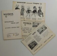 3 Vintage 1968 price lists Windsor Woollies 1960s childrens fashion clothing h