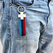 1pc Hot Creative Sport M-Colored Stripe Nylon Band Leather BMW Car Key Chain mh
