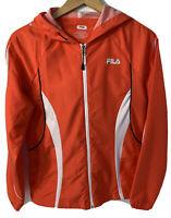 Fila Women Water Repellent Hooded Jacket Lightweight Orange Red Full Zip Size S