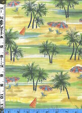 Fabric Quilting Treasures Paradise Delights Retro Beach Scene Chairs Palm BTHY