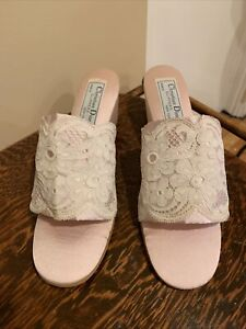 Vintage Christian Dior Pink Satin And Lace Slippers Size 8 New Old Stock
