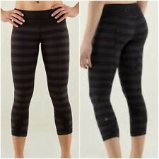 Lululemon Macro Micro Inspire Crop Pants Black Grey Size 4 Rare