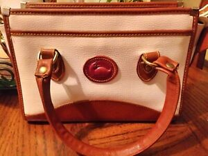 Dooney & Bourke Handbag And Crossbody White And Brown Leather Pockets Zipper