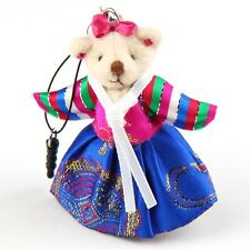 Bear Doll Korean Hanbok Traditional Costume Mobile Cell Phone Strap Charms