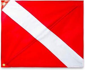 """Diver Down Flag 24"""" x 20"""" Nylon Stiffener, Grommets Dive Flag Scuba Diving ~ NEW"""