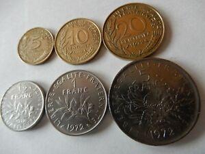 Frankreich Münzsatz 1972 (6 Münzen), 5,10 und 20 Centimes + 1/2, 1 und 5 Francs