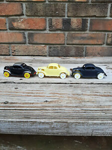 """3 Vintage Plastic 1940's ? 1950's ? Toy Cars Hot Rod Racers 4.5"""""""