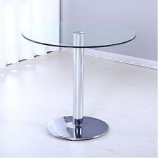 Modern Clear Glass Coffee Table Round Chrome Metal Legs Lower Shelf Living Room