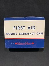 Large VTG Johnson & Johnson Metal WOOD'S Emergency First Aid Case Medical Kit