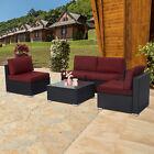 5 Pcs Outdoor Patio Sofa Set Pe Rattan Wicker Sectional Furniture Couch Garden