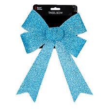 Christmas Tinsel Bow Tree Decoration - Blue 22cm x 32cm