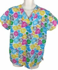 I Love Scrubs Colorful Pink, Yellow, Green, Gray and Blue Hearts Scrub Top Sz L