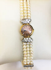 Vintage jaeger lecoultre watch 18k Rose Gold Pearl and Diamonds