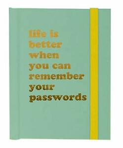 Password Book - Life Is Better - Green With Yellow Elastic Closure - A7