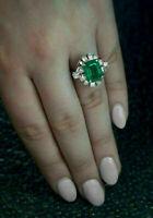 3.00 Ct Green Emerald & Diamond Halo Engagement Ring 14K White Gold Finish