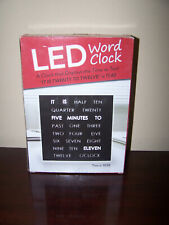 """Led Word Time Clock 8"""" Displays Time As Text Hang on Wall or Use Stand for Desk"""