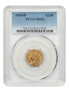 1914-D $2 1/2 PCGS MS62 - Better Date - 2.50 Indian Gold Coin - Better Date