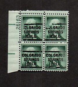 US #1031, plate block, with EFO precancel Colorado Springs, Colorado.