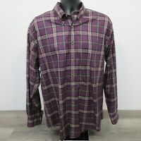 Brooks Brothers 1818 Men's Shirt Size Large Supima Purple Plaid Check